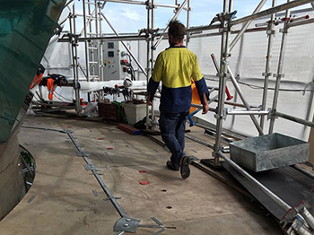 5000kg scaffold erected on main deck